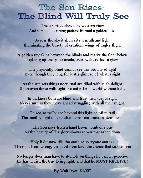 Easter Poem :The Son Rises - The Blind will Truly See ...