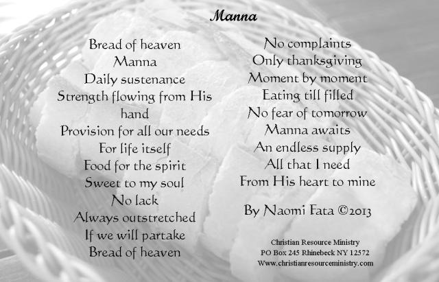 Manna picture card or pintrest